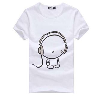 処分 人気 半袖 Tシャツ メンズ レディース ヘッドフォンデザイン L 白(Tシャツ/カットソー(半袖/袖なし))
