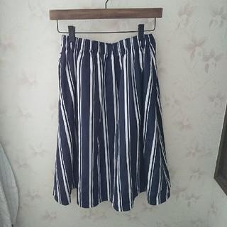 ストライプ 上品スカート(ひざ丈スカート)