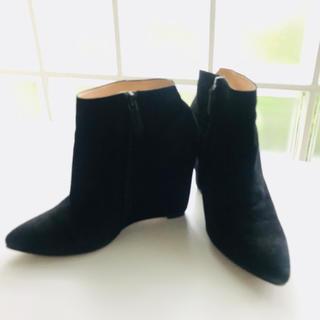 コールハーン(Cole Haan)のコールハーン ショートブーツ ブラック 7.5B 24㎝ 美品 スエード(ブーツ)