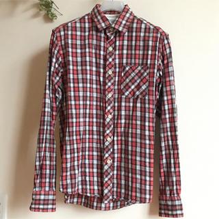 GU - ジーユー  ネルシャツ 赤 白 黒 チェック S 長袖