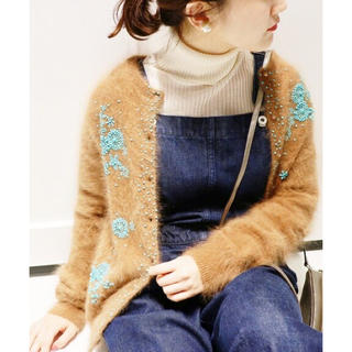 IENA - ⭐︎新品同様⭐︎IENA アンゴラ混ビーズ刺繍カーディガン