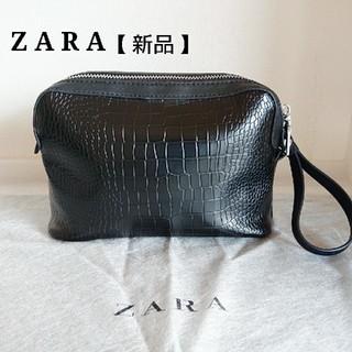 ZARA - ZARA ザラ セカンドバッグ クラッチバッグ ストラップ付き クロコ型押し