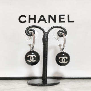 CHANEL - 正規品 シャネル ピアス フープ シルバー ココマーク ブラック 銀 ロゴ 黒