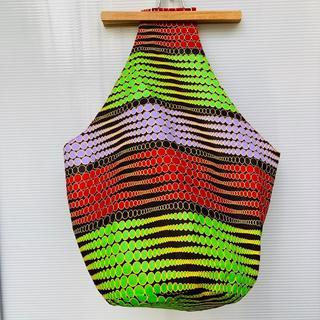 マルチカラー ドット柄 アフリカ布 しずくバッグ ハンドメイド バオバブ神戸(ショルダーバッグ)