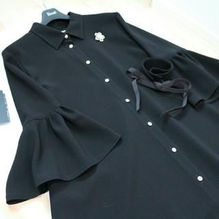 René - René  ☆未使用☆シャツワンピース 黒 34   32  ルネ パールボタン