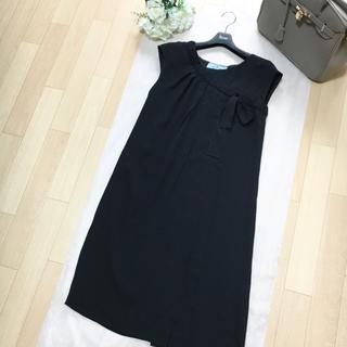PRADA - 【美品】PRADA プラダ ストラッチ リボン ドレス ブラック ワンピース