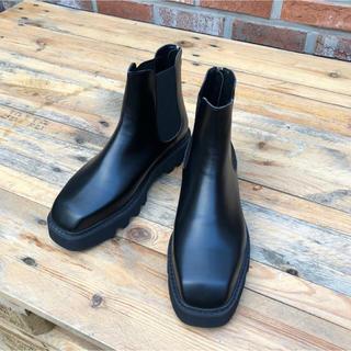【新品未使用】スクウェアトゥ back zip boots