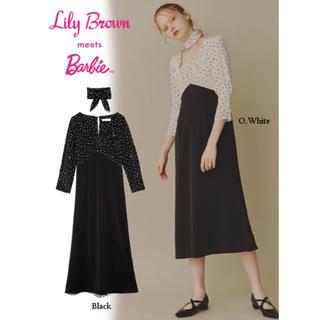 Lily Brown - リリーブラウン  バービーコラボドット切り替えワンピース