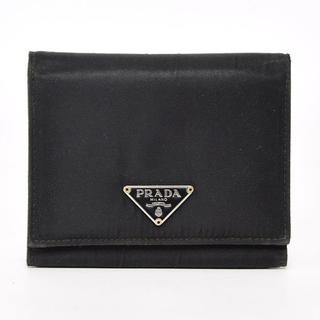 プラダ(PRADA)のPRADAプラダ 三つ折り財布 コンパクト ミニサイズ ブラック黒 ナイロン (折り財布)