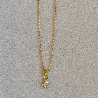 agete - アガット K18 一粒ダイヤモンド ネックレス