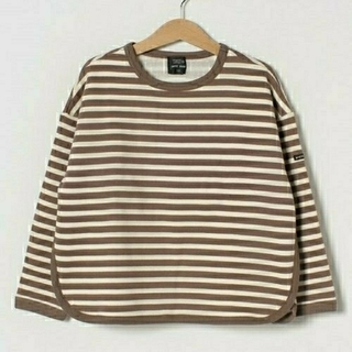 プティマイン(petit main)のプティマイン オーガニックコットンボーダー裏起毛トレーナー 110(Tシャツ/カットソー)