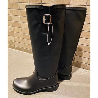エムエムシックス(MM6)のMM6 (エムエムシックス) レインロングブーツ ブラック サイズ39(レインブーツ/長靴)