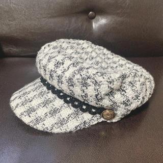 ミラオーウェン(Mila Owen)の白黒ツィード キャスケット 帽子(キャスケット)