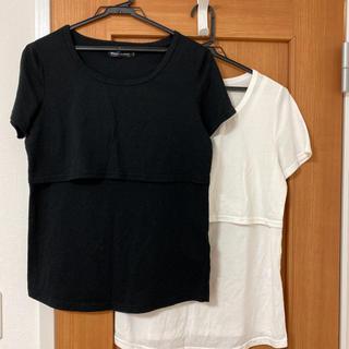 マタニティ授乳口付Tシャツ2枚セットLサイズ