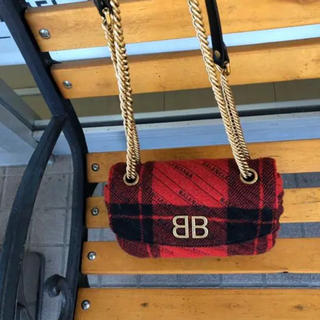 バレンシアガバッグ(BALENCIAGA BAG)の美品☆バレンシアガ チェーンショルダーバッグ ウールチェック(ショルダーバッグ)