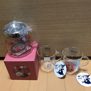 AfternoonTea - 新品 値札付 アフタヌーンティー ムーミン 耐熱ガラス マグカップ ポット 3点