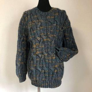手作りハンドメイド 純毛 手編み棒針編み メンズ セーター M~L (ニット/セーター)