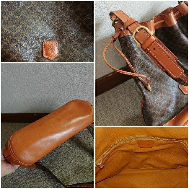 celine(セリーヌ)のセリーヌ マカダム 巾着ショルダーバッグ ブラウン レディースのバッグ(ショルダーバッグ)の商品写真