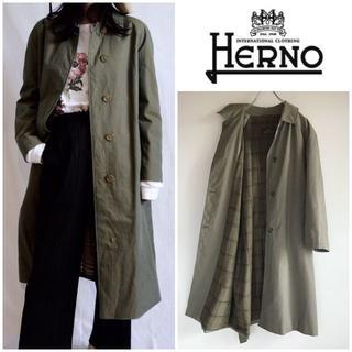 ヘルノ(HERNO)の希少 70sビンテージ HERNO ベルト付ステンカラーコート 50 イタリア製(トレンチコート)