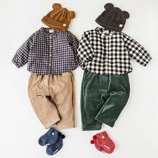 petit main - プティマイン チェックシャツ コーデュロイパンツ セット