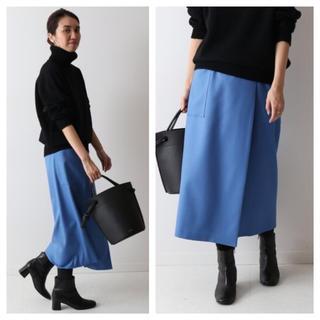フレームワーク(FRAMeWORK)の【新品タグ付】FRAMeWORK ラップスカート ブルーA サイズ38(ひざ丈スカート)