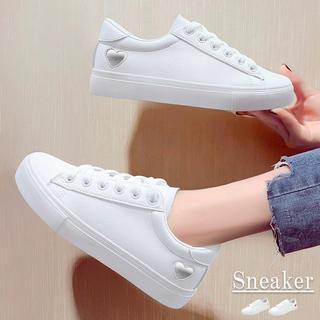 ♥ スニーカー レースアップ ローカット 靴 履きやすい フラットシューズ(スニーカー)