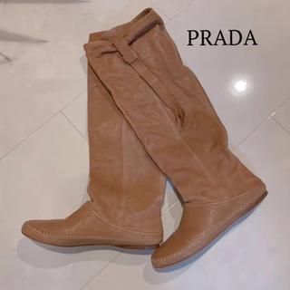 PRADA - プラダ PRADA ピンクベージュ ソフトレザー ブーツ