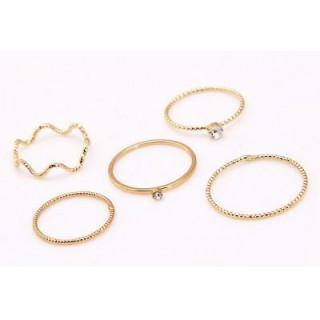 指輪 ダイヤ セットリング ミディリング ファランジリング 5点セット ゴールド(リング(指輪))
