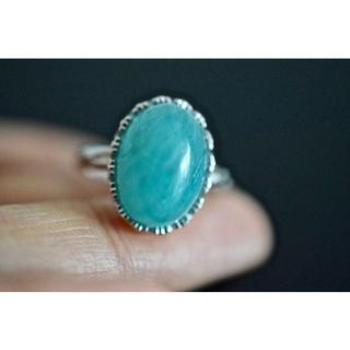 10-228 在庫処分 大粒天然 アマゾナイトリング 指輪(リング(指輪))