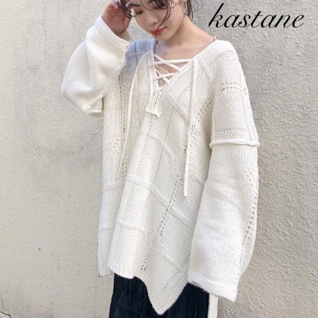 Kastane(カスタネ)の今季新作❁カスタネ チェックジャガード編み上げニット レディースのトップス(ニット/セーター)の商品写真