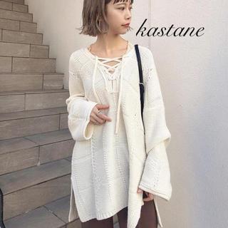 Kastane - 今季新作❁カスタネ チェックジャガード編み上げニット