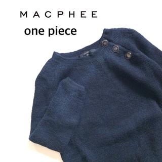 MACPHEE - MACPHEE マカフィー 肩マリンボタンニットワンピース ネイビー 38