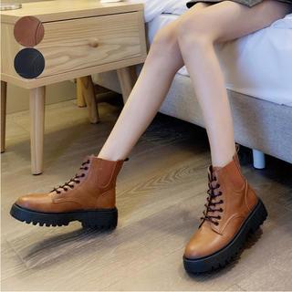 ♥ ショートブーツ ワークブーツ 厚底 靴 レースアップ 脚長 美脚 かっこいい(ブーツ)