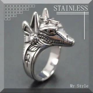 ★新品★ MR005 メンズ リング 指輪 ステンレス アヌビス R00537(リング(指輪))
