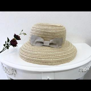 クチュールブローチ(Couture Brooch)の麦わら帽子 クチュールブローチ リボンハット つば広(麦わら帽子/ストローハット)