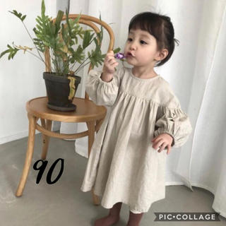 petit main - 即納 新品◆ リネンワンピース 90 韓国子供服 ナチュラル パフスリーブ