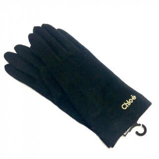 クロエ(Chloe)の新品 カシミヤ混 ニット 手袋 正規品 タグ付き ブラック(手袋)