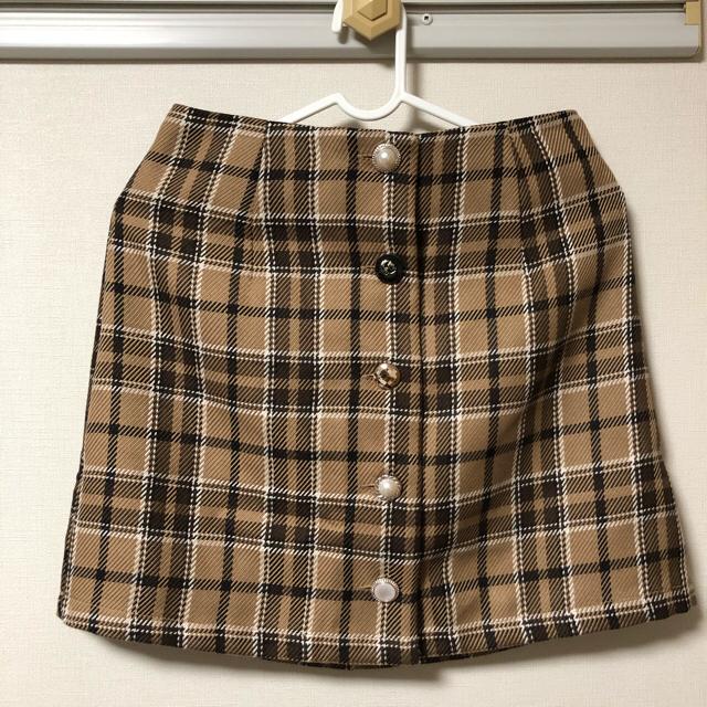 GRL(グレイル)のフロントボタン 台形チェックスカート レディースのスカート(ミニスカート)の商品写真