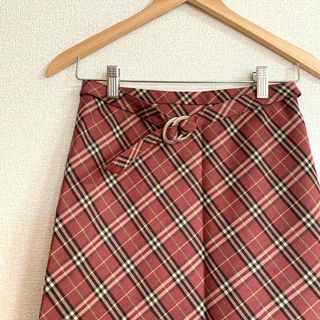 BURBERRY BLUE LABEL - バーバリーブルーレーベル ノバチェックベルト付きスカート 36 ピンクレッド