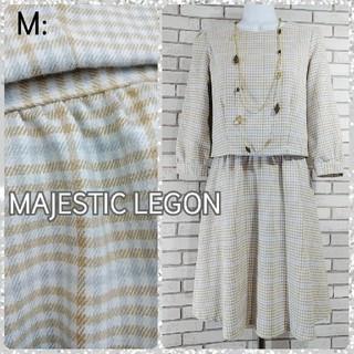 マジェスティックレゴン(MAJESTIC LEGON)のM: ドッキングワンピース/マジェスティックレゴン★美品★(ひざ丈ワンピース)