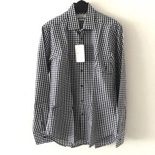 ZARA - 【新品】ZARA MAN  チェックシャツ  長袖  ホワイト ネイビー
