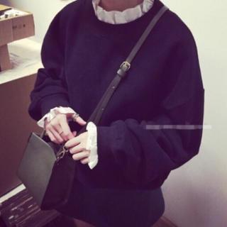 Lily Brown - フリルネックシャツレイヤードパーカー