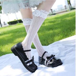 新品☆(24.5cm)黒合皮マットリボン&白フリルロリータ靴/パンプス(ハイヒール/パンプス)