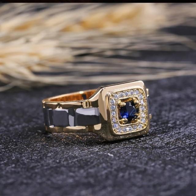 ブルーサファイアCZダイヤモンドスクエア ゴールドリング メンズのアクセサリー(リング(指輪))の商品写真