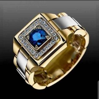 ブルーサファイアCZダイヤモンドスクエア ゴールドリング(リング(指輪))