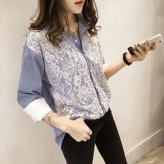 GRACE CONTINENTAL - ストライプレースデザインシャツ(ブルー)