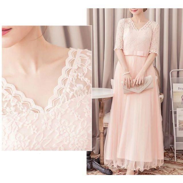 L★ピンク★ロングドレス ワンピース 結婚式 パーティードレス レース レディースのフォーマル/ドレス(ロングドレス)の商品写真