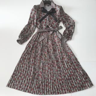 DOUBLE STANDARD CLOTHING - sov.ソブ ダブルスタンダードクロージング柄プリーツ シャツワンピース36
