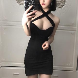 dazzy store - デコルテショルダークロスワンピース キャバ クラブ ドレス