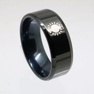 太陽ステンレスリング ブラック 17号 新品 クリックポスト送料無料(リング(指輪))